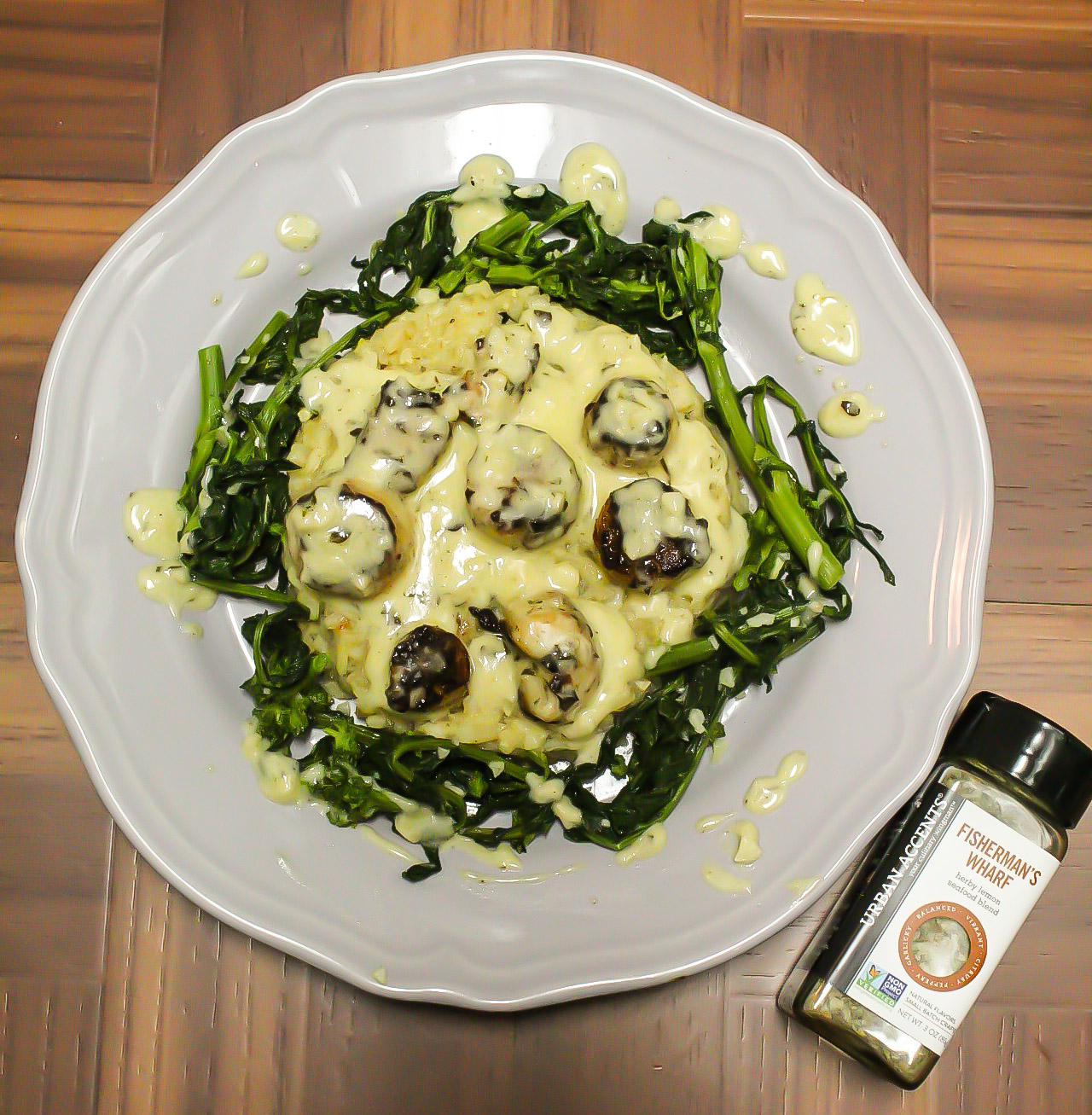 Scallops, Risotto and Rapini with Lemon Herb Cream Sauce: Featuring Urban Accents!